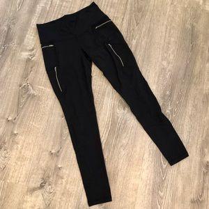 Athleta Black Zipper Leggings Sz Small